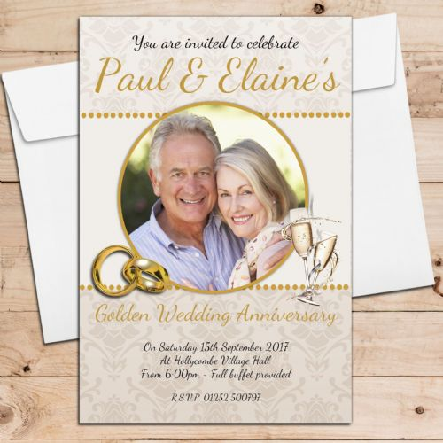 10 Personalised 50th Golden Wedding Anniversary Invitations N22